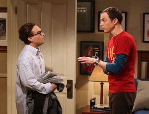 Leonard, left, and Sheldon discuss a matter on CBS' hit The Big Bang Theory