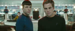 Courtesy Paramount Pictures/Bad Robot Films. Spock is on the left.